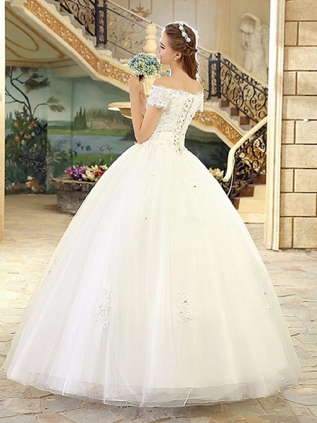 Ball Gown Wedding Dresses Off Shoulder Floor Length Lace Over Tulle Short Sleeve Casual Vintage Plus Size_2