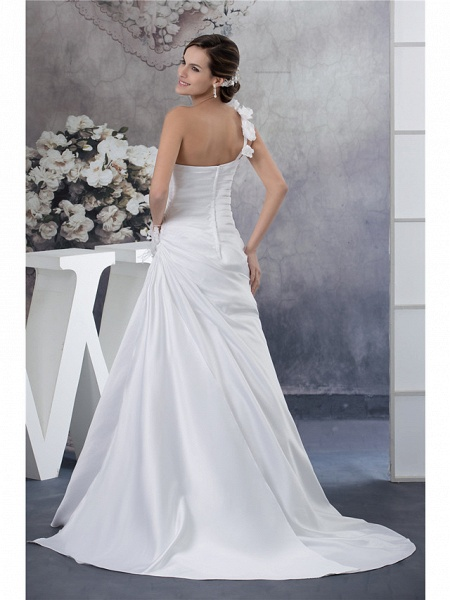 A-Line Wedding Dresses One Shoulder Court Train Satin Spaghetti Strap_3