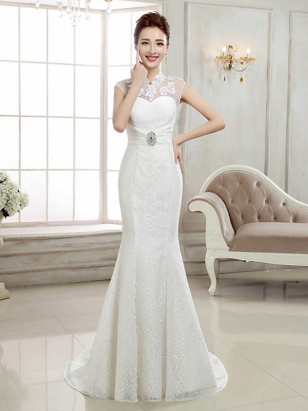 Mermaid \ Trumpet Wedding Dresses High Neck Sweep \ Brush Train Lace Cap Sleeve Sexy Illusion Detail Backless_1