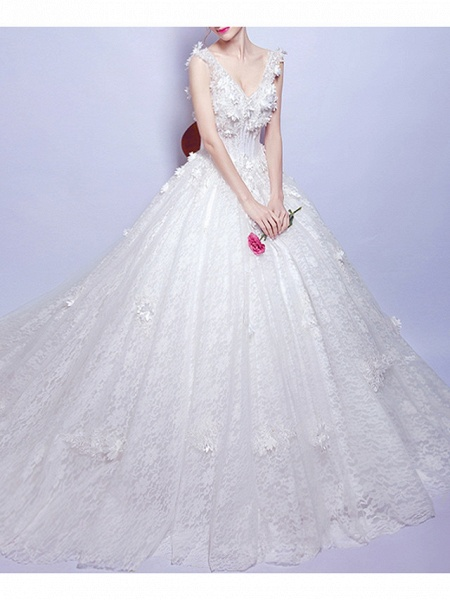 A-Line Wedding Dresses V Neck Court Train Chiffon Lace Tulle Sleeveless Casual Illusion Detail Plus Size_2