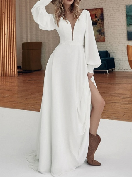 A-Line Wedding Dresses V Neck Sweep \ Brush Train Floor Length Stretch Satin Long Sleeve Country Plus Size_4