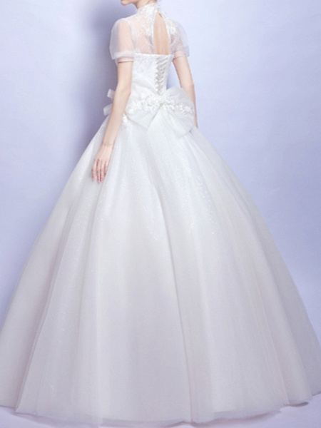 Ball Gown Wedding Dresses Jewel Neck Sweep \ Brush Train Chiffon Tulle Short Sleeve Formal Illusion Detail Plus Size Cute_2