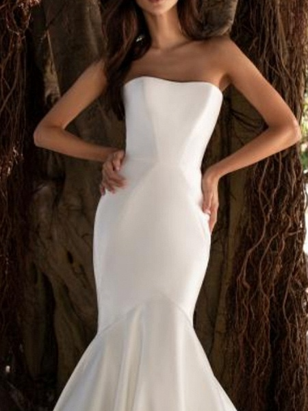 Mermaid \ Trumpet Wedding Dresses Strapless Floor Length Satin Strapless Plus Size_2