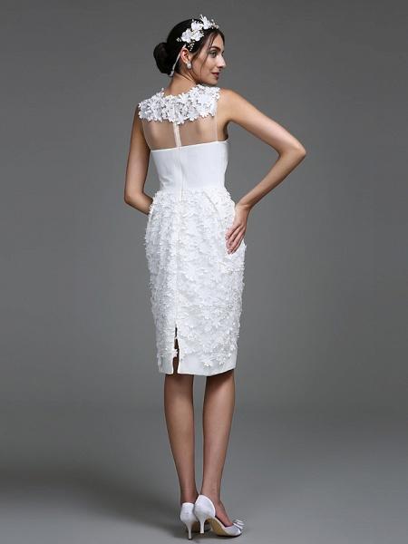 Sheath \ Column Wedding Dresses Jewel Neck Short \ Mini Chiffon Regular Straps Romantic Casual See-Through Plus Size Backless_2