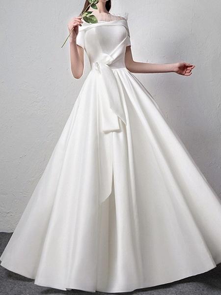 A-Line Wedding Dresses Off Shoulder Floor Length Satin Short Sleeve Beach_2