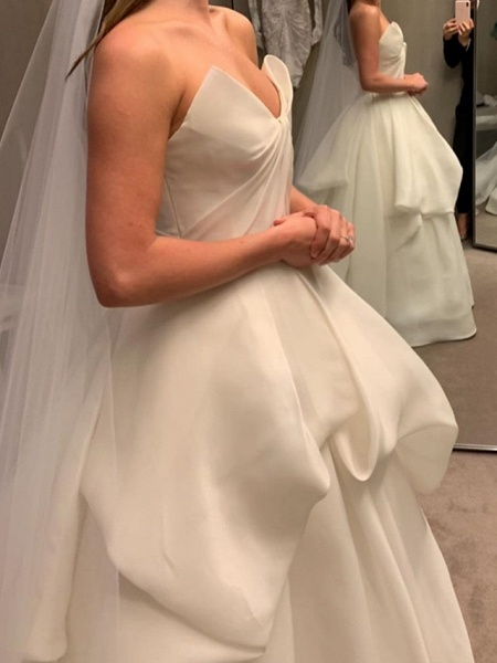 Ball Gown Wedding Dresses Strapless Court Train Polyester Sleeveless Country Plus Size_3