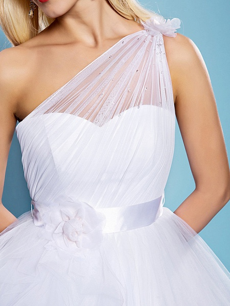 Ball Gown Wedding Dresses One Shoulder Court Train Tulle Sleeveless_7