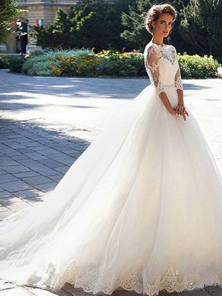 A-Line Wedding Dresses Off Shoulder Court Train Lace Tulle 3\4 Length Sleeve Formal Sexy Illusion Sleeve_1