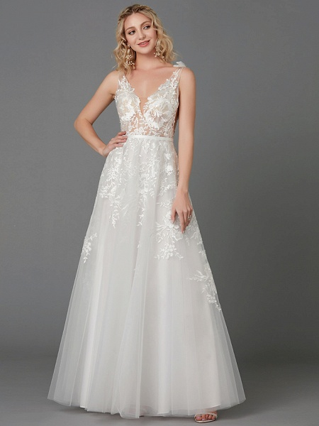 A-Line Wedding Dresses Plunging Neck Floor Length Lace Tulle Sleeveless See-Through_5