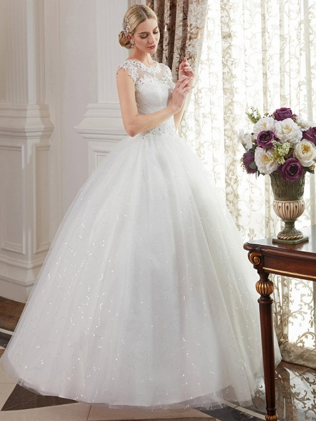 Ball Gown Wedding Dresses Jewel Neck Floor Length Lace Over Tulle Cap Sleeve Romantic Illusion Detail_5