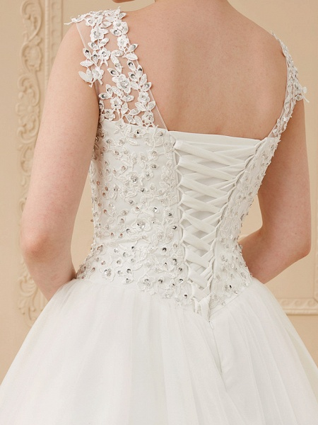 Ball Gown Wedding Dresses Scoop Neck Floor Length Beaded Lace Regular Straps Romantic Illusion Detail_7