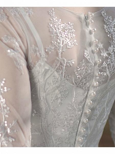 A-Line Wedding Dresses Jewel Neck Ankle Length Lace Tulle Long Sleeve Simple Little White Dress Elegant Illusion Sleeve_7