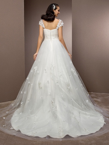 Ball Gown Square Neck Court Train Tulle Short Sleeve Wedding Dresses_4