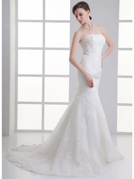 Mermaid \ Trumpet Strapless Chapel Train Satin Strapless Wedding Dresses_2