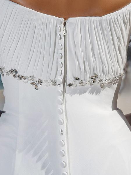 Sheath \ Column Wedding Dresses Scoop Neck Sweep \ Brush Train Chiffon Cap Sleeve Beach Plus Size_8