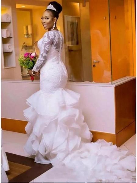 Mermaid \ Trumpet Wedding Dresses Jewel Neck Court Train Lace Organza Tulle Long Sleeve Romantic Plus Size Illusion Sleeve_3