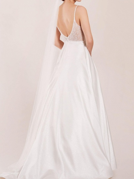 A-Line Wedding Dresses Spaghetti Strap Sweep \ Brush Train Polyester Sleeveless Country Plus Size_2