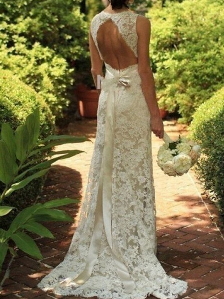 A-Line Wedding Dresses V Neck Sweep \ Brush Train Lace Sleeveless Sexy See-Through_1