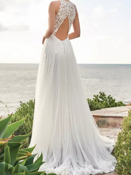 A-Line Wedding Dresses Jewel Neck Sweep \ Brush Train Lace Satin Tulle Sleeveless Beach_2