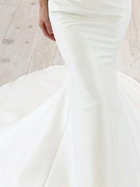 Mermaid \ Trumpet Wedding Dresses Off Shoulder Sweep \ Brush Train Chiffon Over Satin Short Sleeve Simple_3