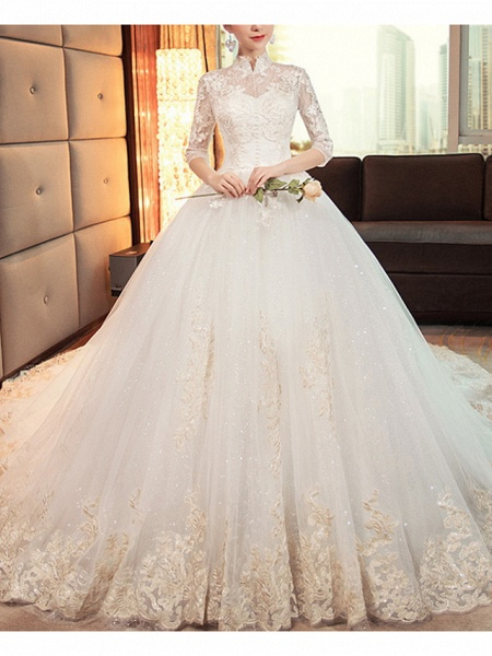 A-Line Wedding Dresses High Neck Court Train Lace Tulle Long Sleeve Casual Plus Size Illusion Sleeve_1