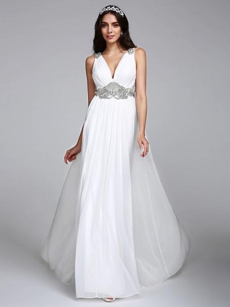 A-Line Wedding Dresses V Neck Sweep \ Brush Train Chiffon Regular Straps Country Romantic Glamorous Sparkle & Shine Plus Size Backless_5