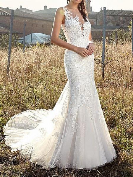 Mermaid \ Trumpet V Neck Sweep \ Brush Train Lace Tulle Chiffon Over Satin Sleeveless Country Plus Size Wedding Dresses_1