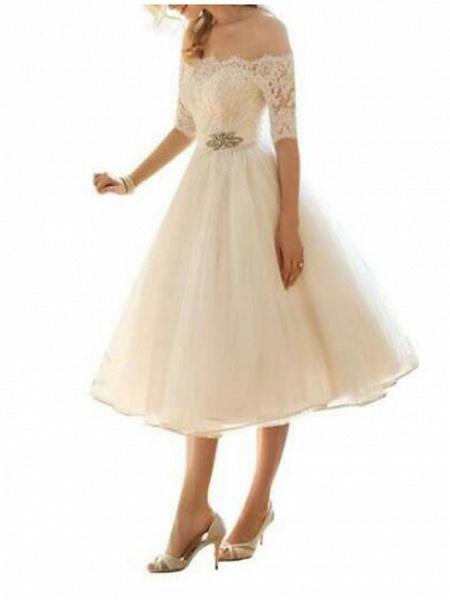 A-Line Wedding Dresses Off Shoulder Knee Length Lace Tulle Half Sleeve Country Vintage Plus Size_3