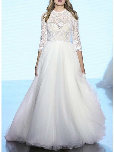 A-Line Wedding Dresses Jewel Neck Sweep \ Brush Train Lace Tulle 3\4 Length Sleeve Plus Size Illusion Sleeve_1