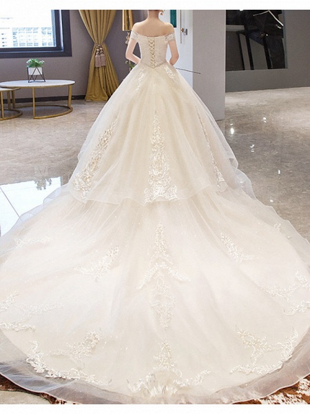 A-Line Wedding Dresses Off Shoulder Court Train Lace Sleeveless Casual Illusion Detail Plus Size_4