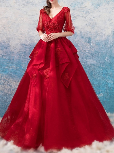 A-Line Wedding Dresses V Neck Sweep \ Brush Train Chiffon Tulle Half Sleeve Formal Plus Size Red_2