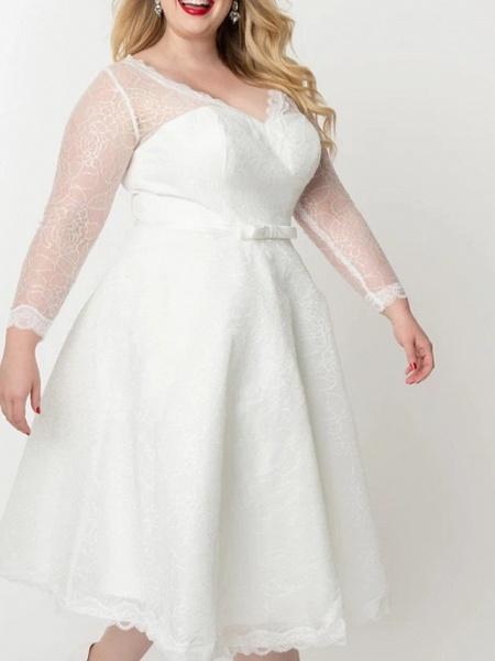 A-Line Wedding Dresses V Neck Knee Length Lace Satin Tulle Long Sleeve Vintage Little White Dress 1950s Illusion Sleeve_1