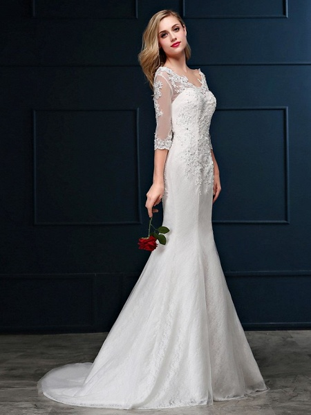 Mermaid \ Trumpet Wedding Dresses V Neck Sweep \ Brush Train Lace Over Tulle 3\4 Length Sleeve Romantic Glamorous Sparkle & Shine Backless Illusion Sleeve_4