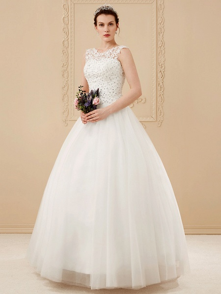 Ball Gown Wedding Dresses Scoop Neck Floor Length Beaded Lace Regular Straps Romantic Illusion Detail_1