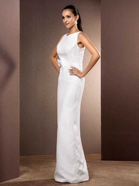Sheath \ Column Wedding Dresses Bateau Neck Floor Length Chiffon Sleeveless_3