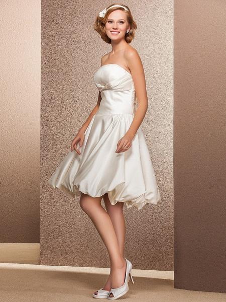 Ball Gown A-Line Wedding Dresses Strapless Knee Length Satin Sleeveless Little White Dress_3