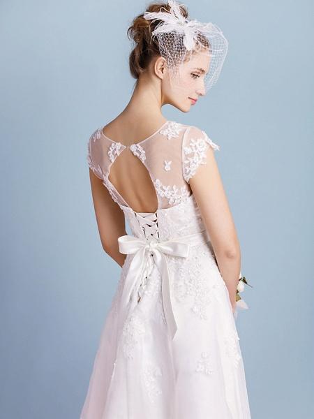 A-Line Wedding Dresses Bateau Neck Tea Length Organza Cap Sleeve Simple Casual Illusion Detail_4