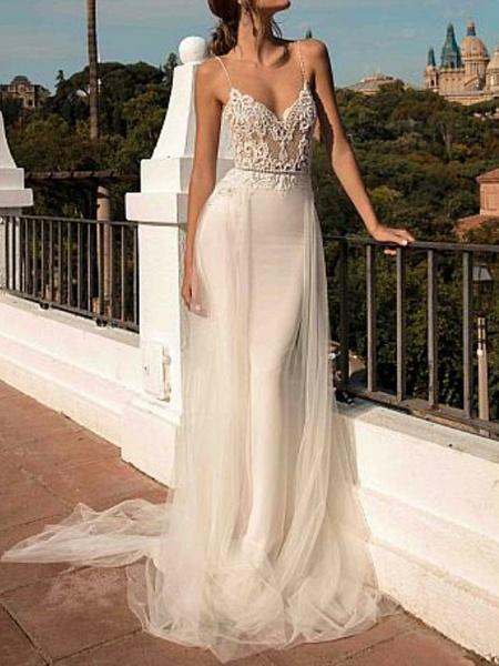 A-Line Wedding Dresses V Neck Sweep \ Brush Train Chiffon Spaghetti Strap Boho Illusion Detail_1