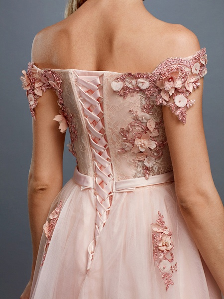 A-Line Floral Pink Prom Formal Evening Dress Off Shoulder Sleeveless Sweep \ Brush Train Tulle Over Lace_7