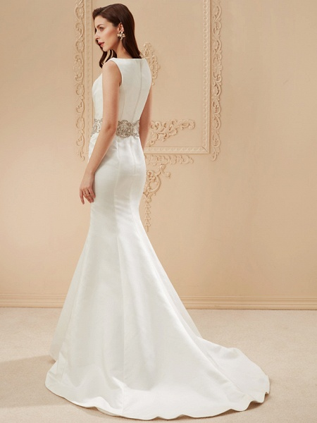 Mermaid \ Trumpet Wedding Dresses Bateau Neck Cathedral Train Satin Regular Straps Vintage Inspired_11