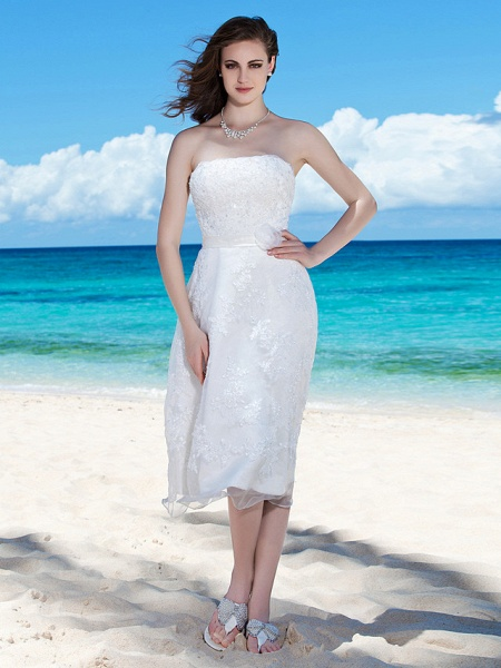 Sheath \ Column Wedding Dresses Strapless Tea Length Organza Sleeveless Little White Dress_1