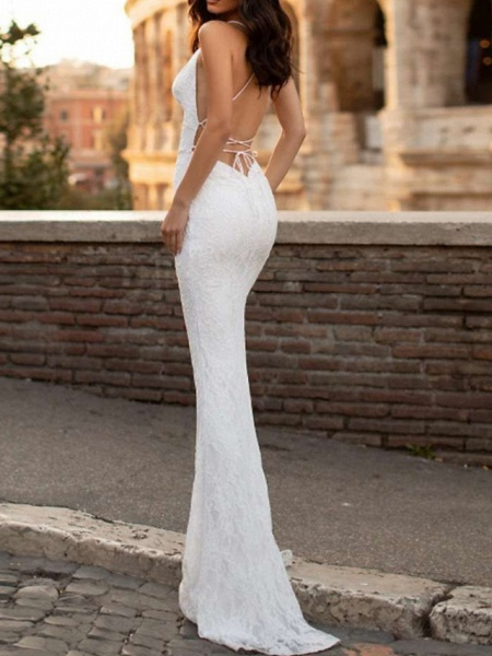 Mermaid \ Trumpet Wedding Dresses Spaghetti Strap Sweep \ Brush Train Lace Satin Sleeveless Simple Sexy Backless_2