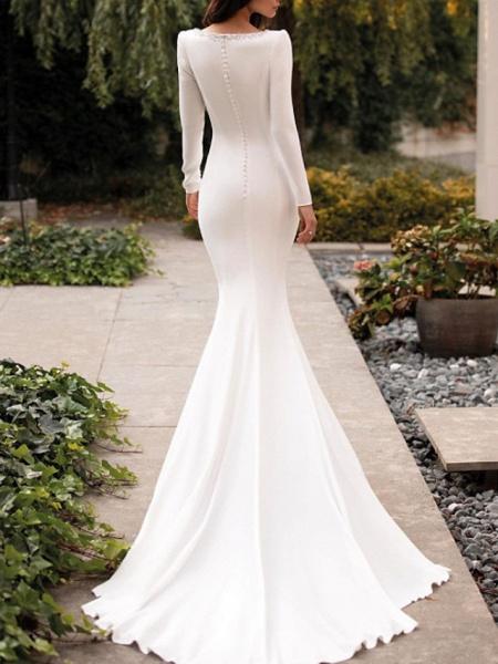 Mermaid \ Trumpet Jewel Neck Court Train Satin Long Sleeve Sexy See-Through Wedding Dresses_3