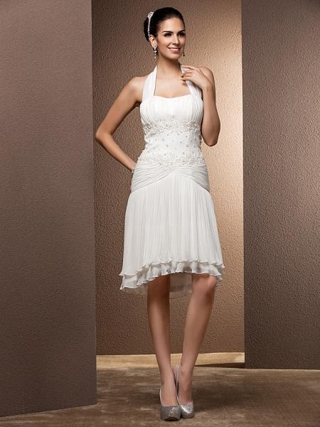 Sheath \ Column Wedding Dresses Halter Neck Floor Length Chiffon Sleeveless_3