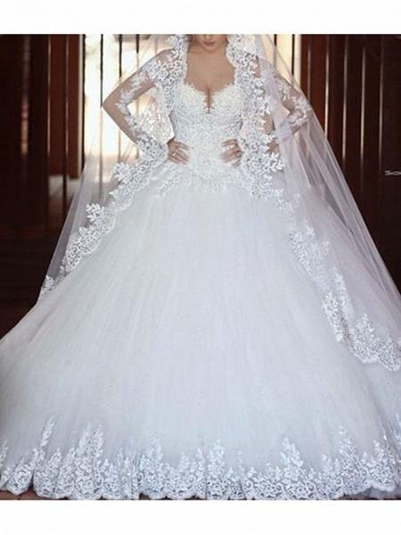 A-Line Wedding Dresses V Neck Court Train Tulle Long Sleeve_1