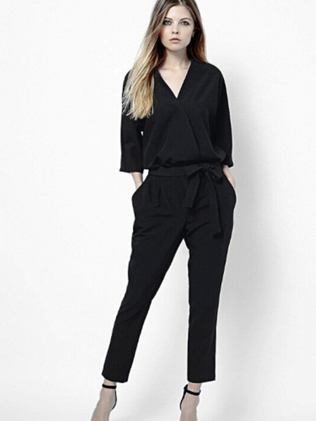 Women's Work Simple Jumpsuit - Solid Colored_7