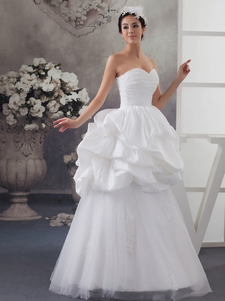 A-Line Sweetheart Neckline Floor Length Lace Satin Tulle Strapless Wedding Dresses_2