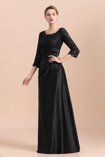 Elegant 3/4 Sleeves Black Satin Lace Ruffles Mother of Bride Dress_8