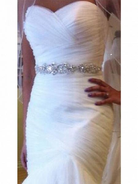 Mermaid \ Trumpet Wedding Dresses Sweetheart Neckline Court Train Tulle Strapless Formal Sparkle & Shine_3