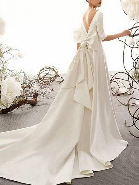 A-Line Wedding Dresses Bateau Neck Court Train Satin Half Sleeve Vintage Illusion Detail Plus Size_2